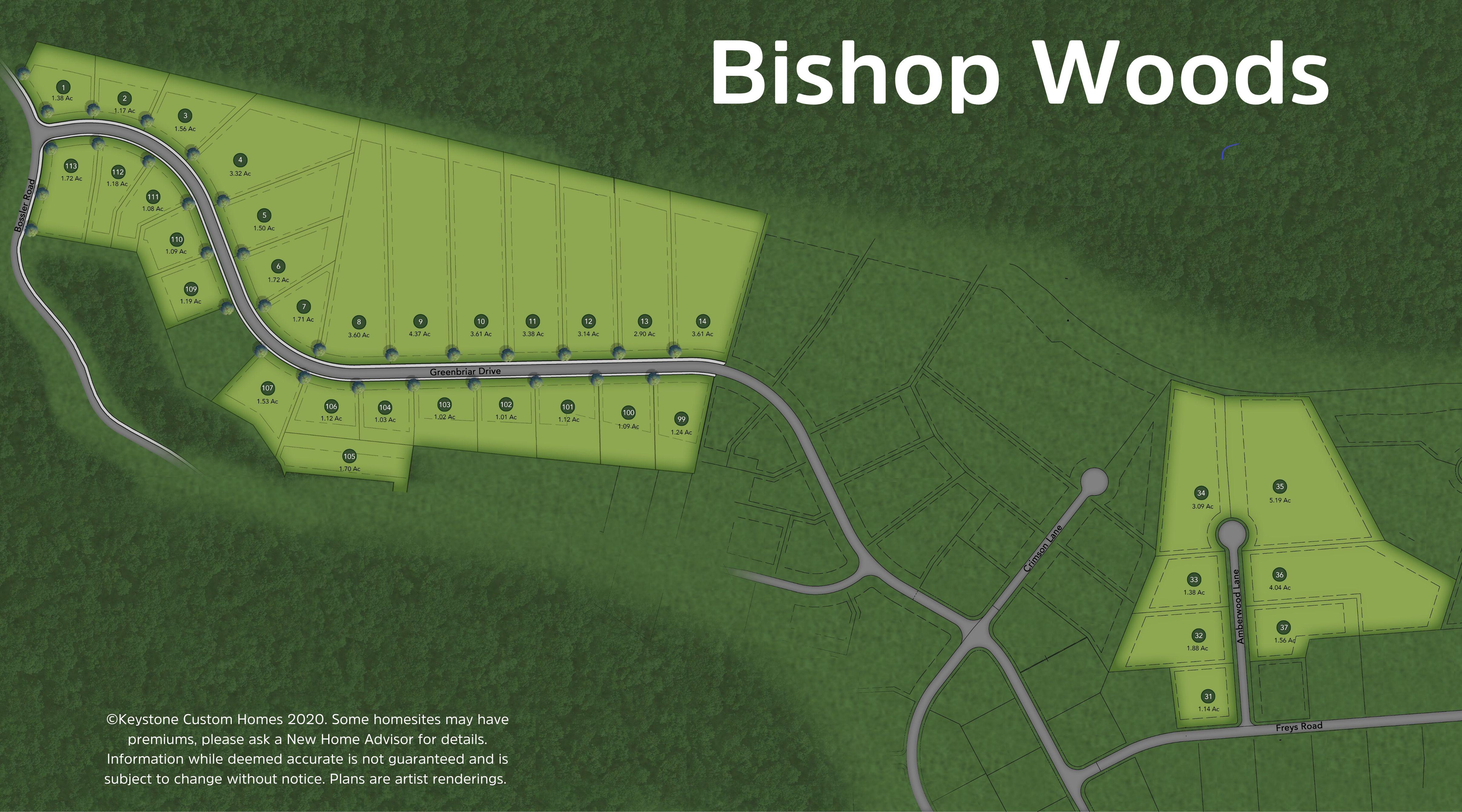 Bishop Woods Lot Map Background
