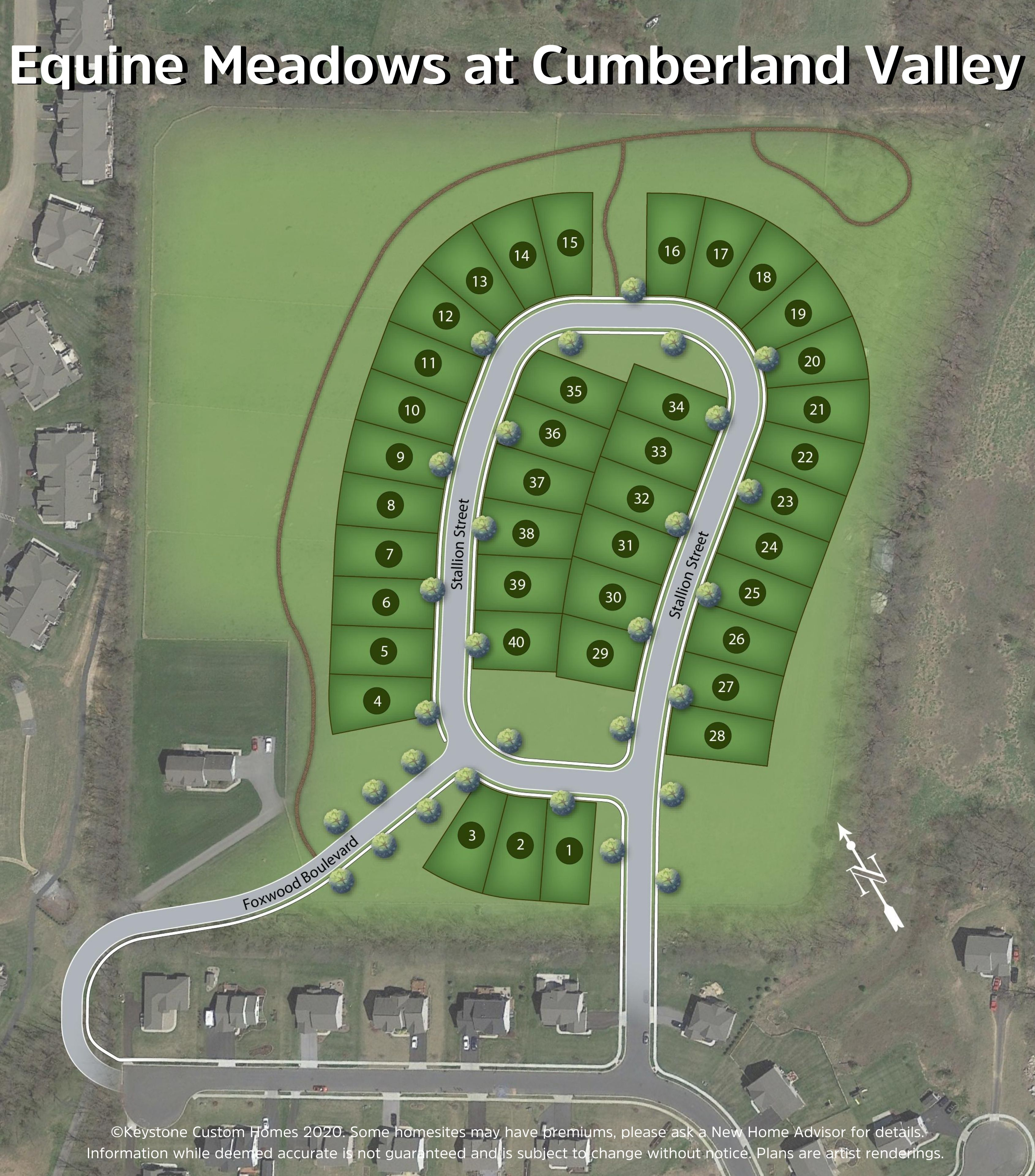 Equine Meadows at Cumberland Valley Lot Map Background