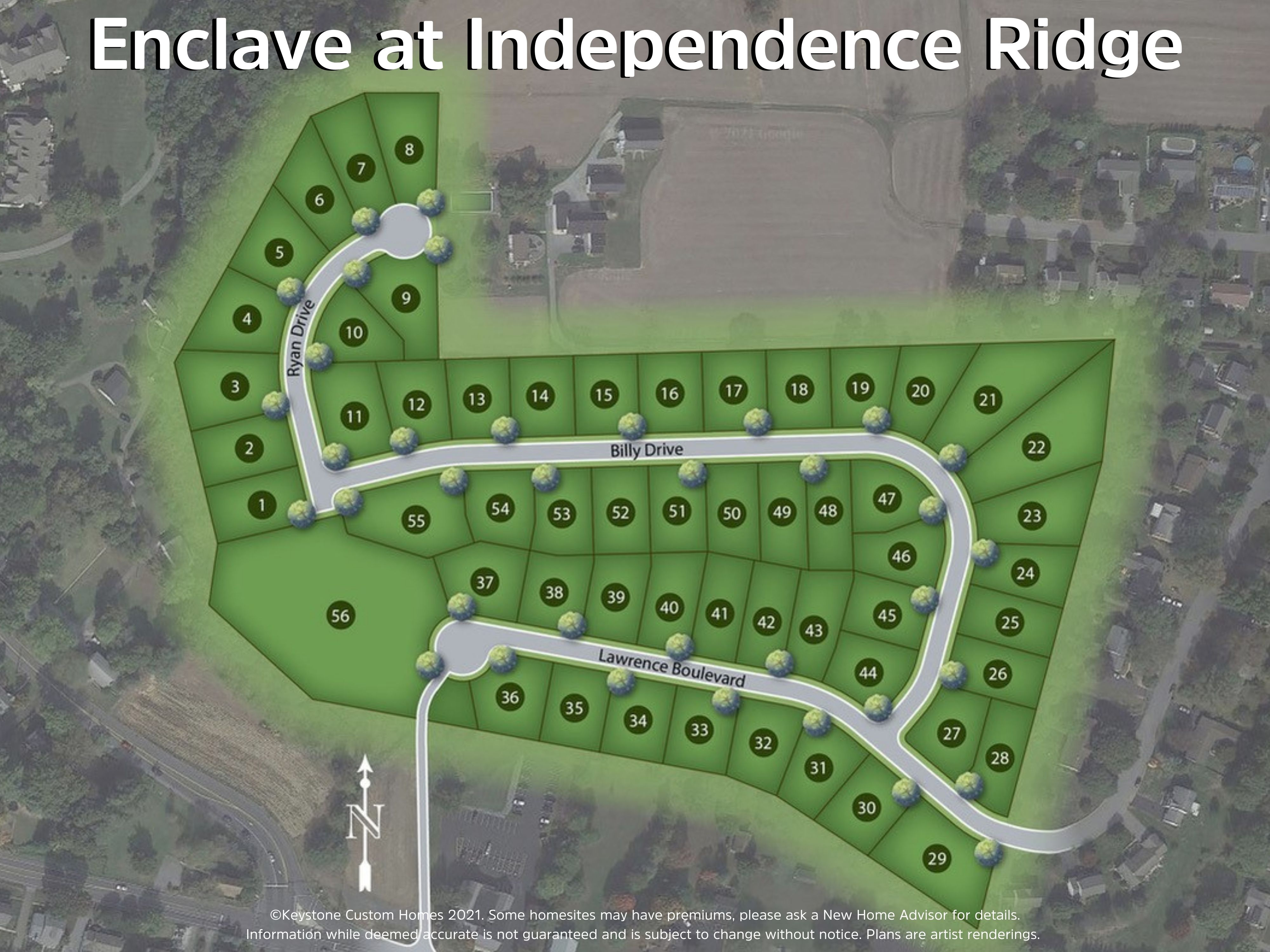 Enclave at Independence Ridge Lot Map Background